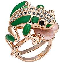 anillo con rana verde
