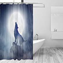 cortina de ducha con lobo aullando